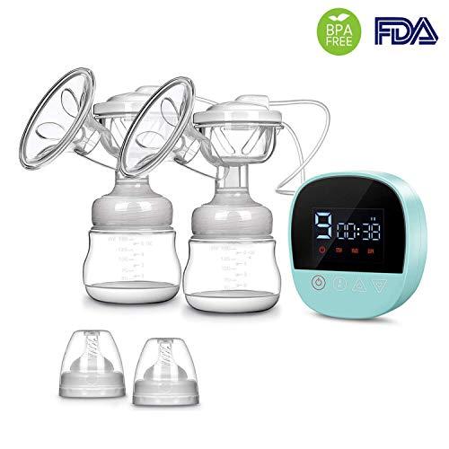 Elektrische Milchpumpe wiederaufladbare tragbare doppelte Absaugung elektrische Milchpumpe mit Massage Modus, LCD Smart Touchscreen, 3 Modi (jeweils 9 Stufen) und Rückflussschutz (Blau)
