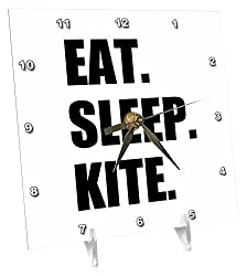 3dRose dc_180416_1 Eat Sleep Kite Kitesurfing Kiteboarding Kite Surfer Kite Boarder Surf Desk Clock, 6