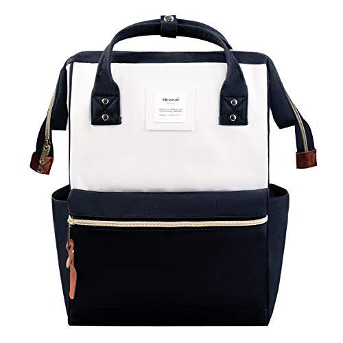 Zaino Grande Aperto Laptop Backpack 15.6' Uomo Donna Antifurto Daypacks Zaino impermeabile per Scuola/Business/Viaggio/Università (Nero Bianco)