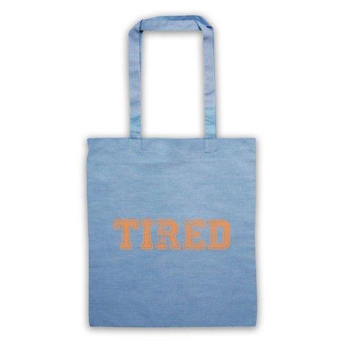Tired borsa, scritta con Slogan divertente Azzurro