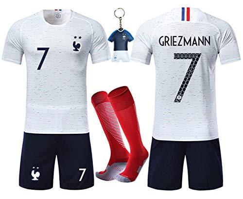 VOOA Maillots de Football Enfants de France Soccer Jersey 2018 Coupe du Monde France 2 Étoiles Football T-Shirt et Short Chaussettes (Blanc 7 Griezmann, Tag26)