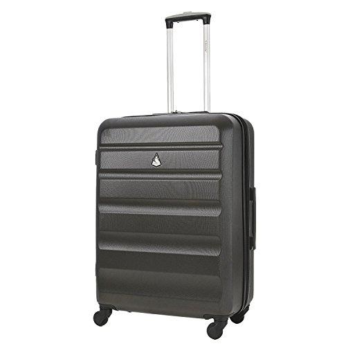 Aerolite Leichtgewicht ABS Hartschale 4 Rollen Trolley Koffer Reisekoffer Hartschalenkoffer Rollkoffer Gepäck, 69cm, Kohlegrau/Gold