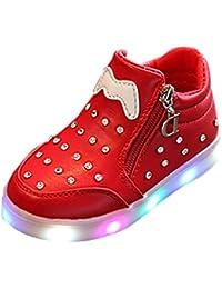 Yying Mädchen Strass LED Fashing Leucht Turnschuhe Warme Welle Punkt Bowknot Stiefel Seitlicher Reißverschluss/Velcro Crystal Low Top Student Schuhe Casual Bequeme 2 Styles