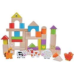 Juguete de madera de los niños que apilan y bloques huecos, animales del campo, 50 pedazos, por jumini ®