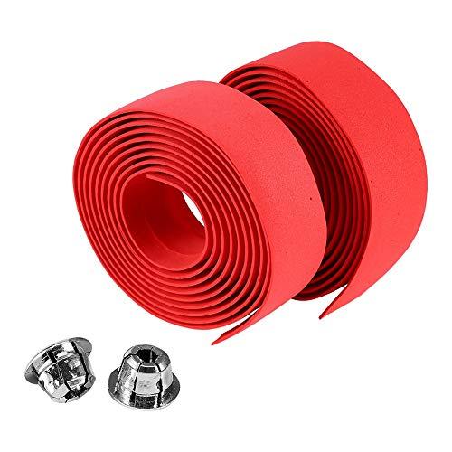 Alomejor 2 STÜCKE Fahrrad Lenkerband Wraps mit 2 Bar Stecker Radfahren Griff Wraps für Mountainbike Rennrad(Rot)