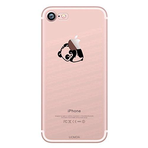 Custodia iPhone 7, Silicone Trasparente Morbida Clear Gel Cover, Ultra Slim Antiurto Anti-Graffio Bumper Case con Disegni - Giraffa Panda