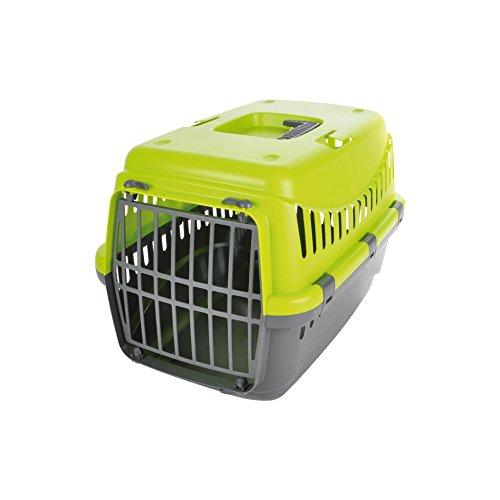 CDaffaires panier de transport pr animaux plastique gris+couvercle vert anis 46*31*h.32cm
