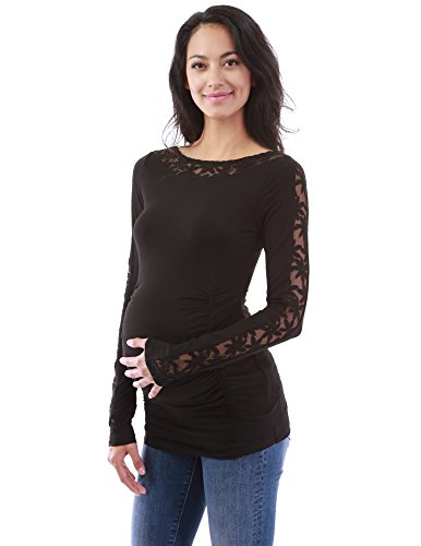 Inset Frauen Oben (PattyBoutik Mama Boatneck lace Inset Mutterschaft top (schwarz XL 46))