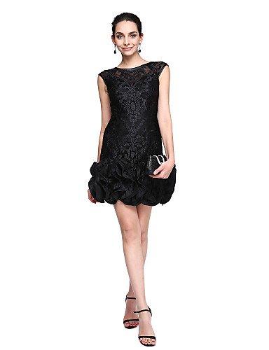 HY&OB Mantel / Spalte Juwel Hals Kurz / Mini Lace Cocktail Party Homecoming Prom Kleid Mit Blume (S), Rot, Us8/Uk 12 / Eu 38 (Hals Juwel Kurze)