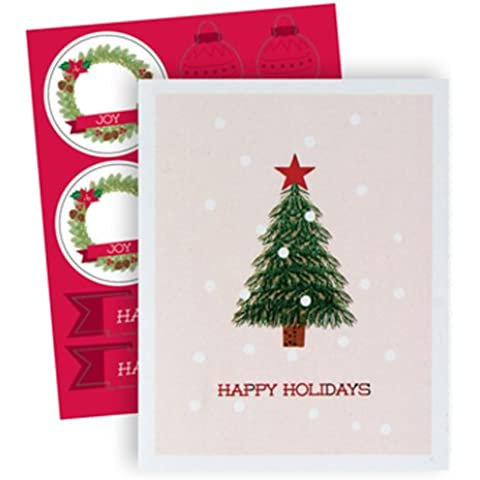 The Gift Wrap Company 20 Count Boxed Holiday Cards, Small, Little Tree, Multicolor by The Gift Wrap Company - Foil Envelope Seals Set