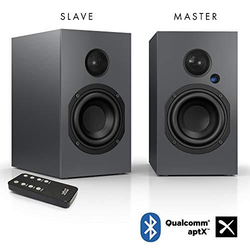 Nubert nuBox A-125 Regallautsprecher | Lautsprecher für Musikgenuss | Heimkino & HiFi Qualität auf hohem Niveau | aktive Regalboxen mit 2 Wege Technik | digitales Kompaktlautsprecherset Grau | 2 Stück