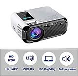 Mini proyector LED de 4500 lúmenes, video Full HD 1280P, HDMI, VGA, PS4, TF, AV, etc. con altavoces duales incorporados (E500)