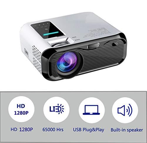 Mini proyector con 65,000 Horas y 4500 lúmenes LED, Video Full HD 1280P con bocinas Dobles incorporadas para HDMI, VGA, PS4, TF, AV, computadora portátil, teléfono (E500 )