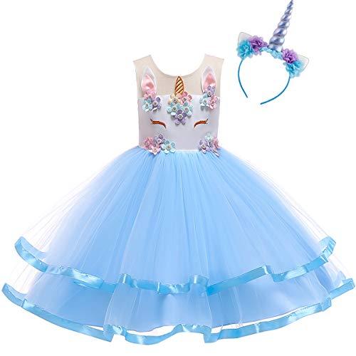 OBEEII Kinder Festliche Kleider Mädchen Einhorn Kostüm Karneval Weihnachten Allerheilige Geburtstag Geschenk Baby Kinder Prinzessin Kleid 9-10 Jahre