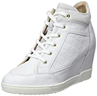 Geox D Carum C Womens Leather Wedge Trainers / Boots - Add sports luxe to your footwear options with the Carum Wedge Heel Trainer from Geox. Designed with an easy zip up fastening with decorative lace detail at the front, this trainer is set to a com...
