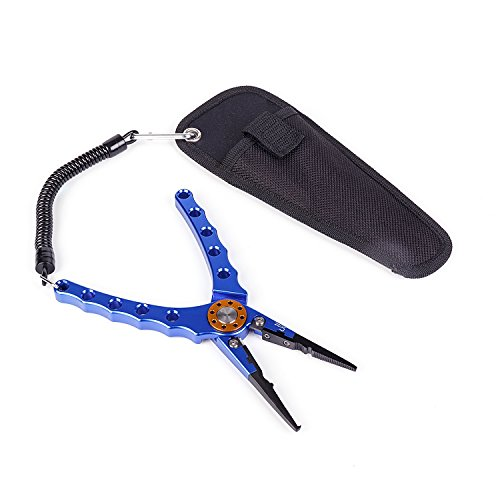 Cloudpattern Fishing Pliers, Aluminum Alloy Fishing Pliers Braid Cutter Hook Line Remover Tackle Kits Tools with Lanyard (blue) - Remover Ring Snap Tool