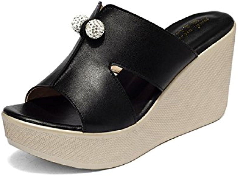 DANDANJIE Zapatos de Mujer de Cuero Sandalias de Confort de Verano Tacón de Cuña Peep Toe Para Casual Blanco Negro...