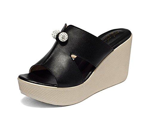 DANDANJIE Femmes Chaussures Cuir Confort Confort Sandales Talon compensé Peep Toe pour Casual Blanc Noir Rouge Vert