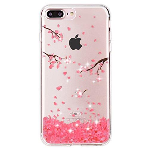 iPhone 7 Plus Hülle,iPhone 7 Plus Silikon Hülle Tasche Handyhülle,SainCat Flamingos Muster Ultra dünne Silikon Hülle Schutzhülle Durchsichtig Hadytasche Stoßfeste TPU Gel Case Bumper Weiche Crystal Ki Diamant-Federschmuck
