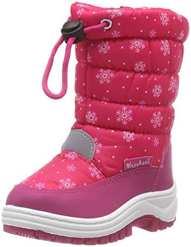 Playshoes gefütterte Kinder Winterstiefel, warme Schneestiefel mit Innenfutter und griffiger Profilsohle, mit Schneeflocken-Muster gepunktet
