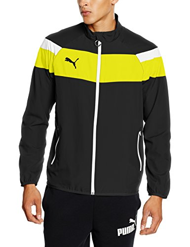 Puma Uomo Giacca Jacke Spirit II Woven Jacket, Nero - black-Cyber yellow, L
