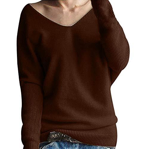 IZHH Mode Damen Pullover, Frauen Casual Winter Wartm Batwing Langarm Einfarbig Strickpullover Outdoor Tops Party Bluse V-Ausschnitt Bodenbildung Datierungs Kleidung(Kaffee,Medium)