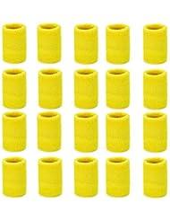 ZOEON 20 Pezzi Polsini di Sport Assorbisudore, Sudore Bracciale per Tennis Pallacanestro, più Colori Disponibili (Giallo)