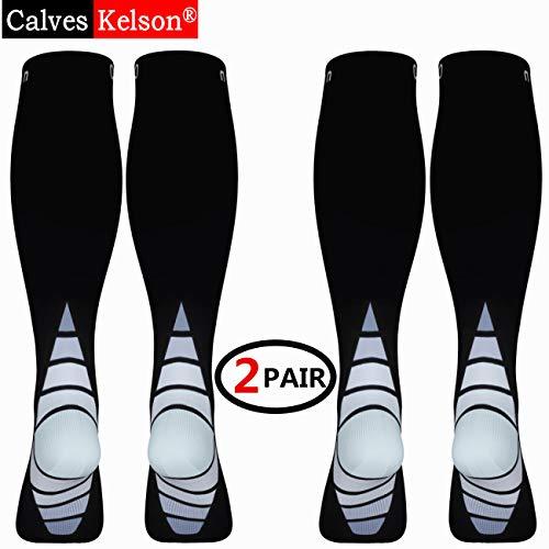 Calcetines/Medias de compresión para Hombres y Mujeres, (2 Pares) Mejor circulación sanguínea, prevenir los coágulos sanguíneos, acelerar la recuperación Best Graduated Athletic Fit