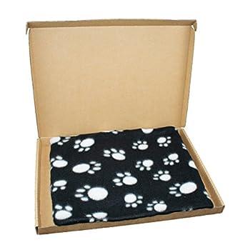 Digiflex Noir Blanc avec Empreintes de Pattes en Polaire Doux Chiot Couverture 70cm x 100cm