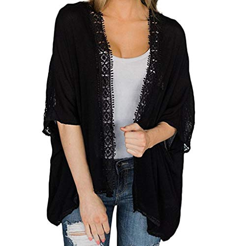 n Lose Schal Print Kimono Cardigan Top Cover Up Bluse Beachwear (EU-42/CN-L, Y-Schwarz) ()