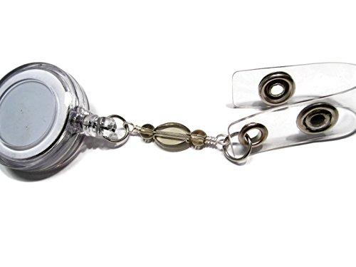 atlanyards grau oval Perlen ID Retractable Badge Holder Lanyard, kein Drehgelenk Arbeiten Name Tag Badge Pull, Perlen 51