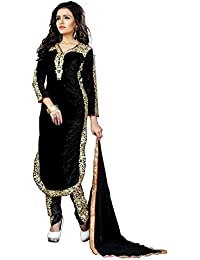 Ethnic Wings Women Velvet Anarkali Semi-Stitched Salwar Suit (EW& ET_ER10506_Black_Free Size)
