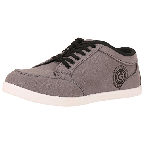 Globalite Men's Grey Black Casual Canvas Stumble Slip on-UK 10  available at amazon for Rs.299