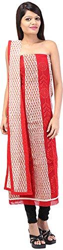 Palkin Women's Jute Unstitched Salwar Suit - (59, Red and Beige)