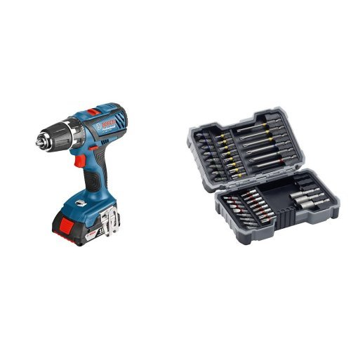 Preisvergleich Produktbild Bosch Professional GSR 18-2-LI Plus Akku-Bohrschrauber (2x2,0 Ah Akku, 13 mm Bohrfutter, 18 V, L-Boxx) blau, 06019E6100 + Bosch Pro 43tlg. Schrauberbit-Set