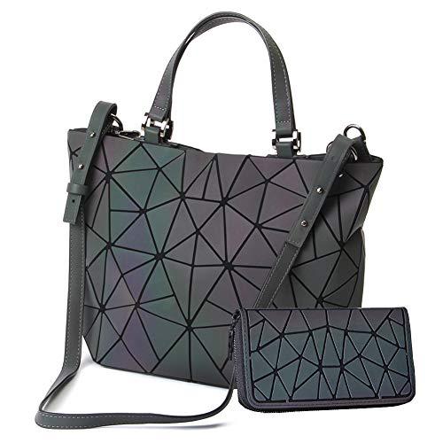 HotOne Scherbe Gitter Design Geometrische Tasche PU-Leder Einzigartige Geldbörsen und Handtaschen (Leuchtend Groß +Postleitzahl Brieftasche, L) -