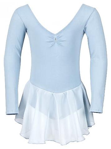 tanzmuster Ballettkleidung für Kinder: Langarm Ballettanzug Ballett Trikot Anna mit Chiffon Röckchen. Edles Ballettkleid mit Strass Applikation am Ausschnitt in hellblau,