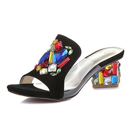 ZYUSHIZ Mme Cristal artificiel Sandales Chaussons au style minimaliste 35EU
