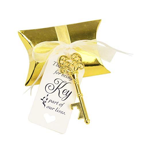 chzeit Party Favor Souvenir Geschenk Set Pralinenschachtel Retro Skeleton Schlüssel Flaschenöffner Danke Tag Seidiges Band (Antikes Gold) ()