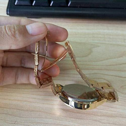 Tensay Unisex Uhren Strass Analog Quarz Sport Uhr Edelstahl Uhrenarmband Armband Armbanduhr Armreif Watch Classic Minimalistisches Design