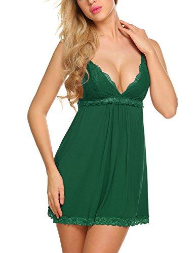 ADOME Damen Spitze Negligee Nachthemd Sexy Nachtwäsche Nachtkleid Lingerie Dessous Set Reizwäsche Sleepwear Kleid Babydoll mit G-String