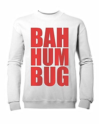Kinder Jungen Mädchen Bah Humbug Weihnachten Jumper Sweatshirt Neu Alter 3–13yrs Gr. L (9-11 Jahre), weiß / rot