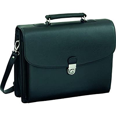 Alassio Forte Briefcase with Shoulder Strap 5 Document Sections Leather-look Black Ref 92011 - laptop-briefcases, laptop