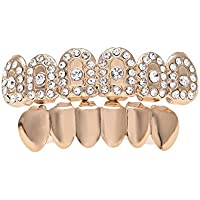 Comparador de precios RENYZ.ZKHN Gold Plated Diamond Diamond Braces _ Braces Teeth Hip-Hop Who Collocation Rackroll Fashion Big Gold Teeth With Braces, Gilt Braces, Hiphop.,Rose Gold Suit (Upper Arch Lower Teeth) - precios baratos