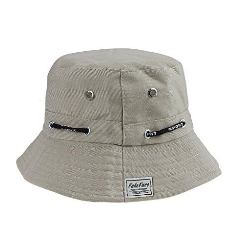 FakeFace Damen Frauen Verstelltbare & Faltbar Hut Kappe Fischerhut Sonnenhut Strandhut aus Baumwolle Sonnenschutz Anti-UV