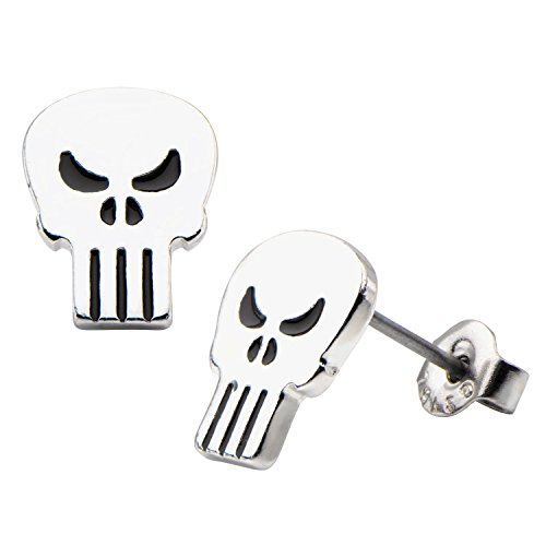 Marvel The Punisher Skull Logo Stud Earrings