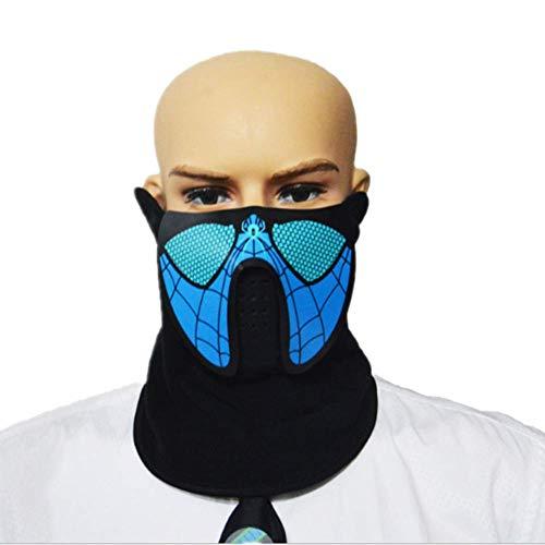 Beleuchtete Halloweenmaske mit Sound aktiviert, blinkend, leuchtend, coole Musik Party Maske Spider