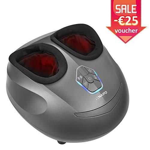[Promotion limitée] Naipo Appareil Massage Pied Masseur Shiatsu Chauffant Massage Electrique avec Massage Pétrissage Profond et Pression d'Air Appareil Ergonomique pour Relaxation