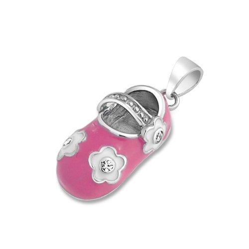 Bling Jewelry 925 Argento Petite smalto rosa CZ Flower scarpe per bambini fascino Ciondolo incisione gratuita