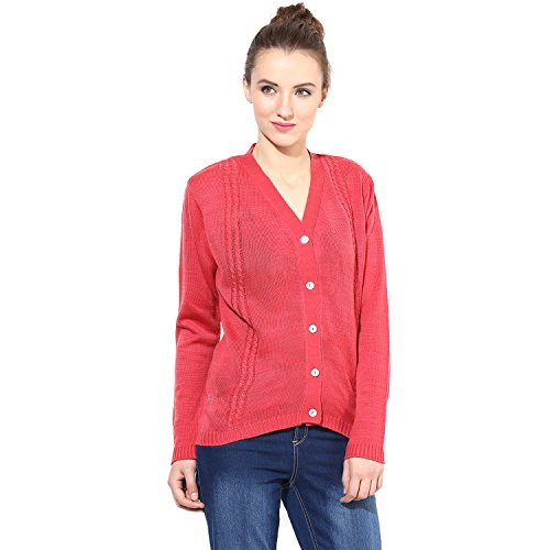 The Vanca Women's Pink V Neck Line With Cable Design